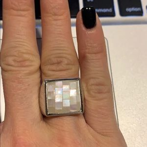 Lia Sophia mother of pearl silver ring